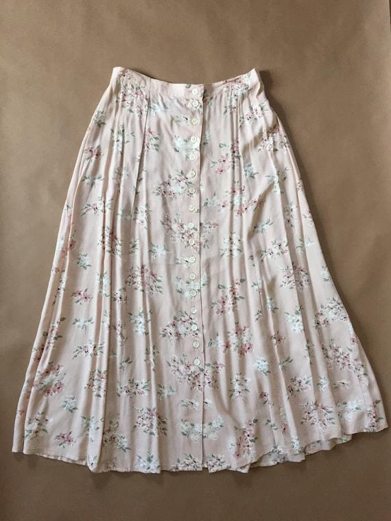 vintage dusty pink maxi skirt flower by adrianandolgacompany