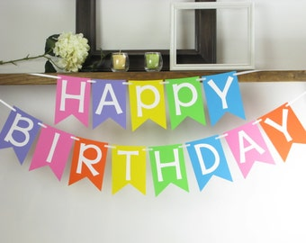 Rainbow Happy Birthday Banner - - Rainbow Banner - Rainbow Decor