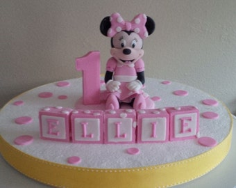 """3"""" Minnie Mouse Inspired Fondant Cake Topper"""