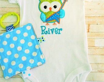 Baby body suit, baby boy,  guitar playing owl, personalized,  comes with a crinkle toy too, great baby shower gift.