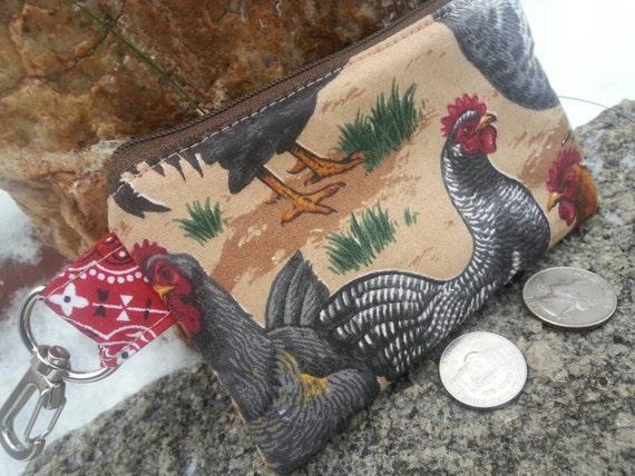 Chicken  Coin Purse, Small Zipper Pouch