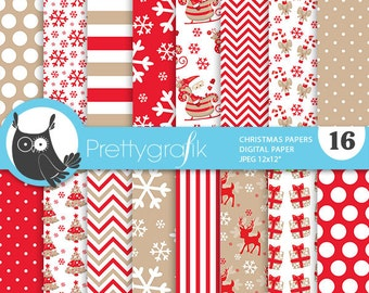 80% 0FF SALE Christmas digital paper, classic christmas papers commercial use, scrapbook papers, craft, holiday - PS773