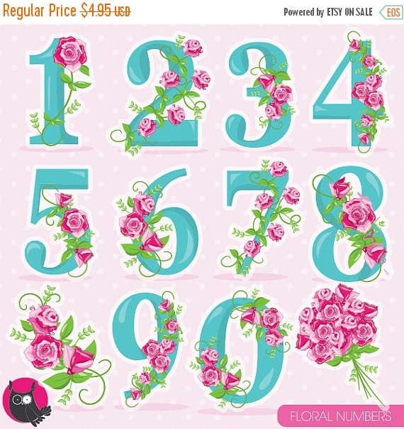 80  Off Sale Floral Numbers Clipart Wedding By