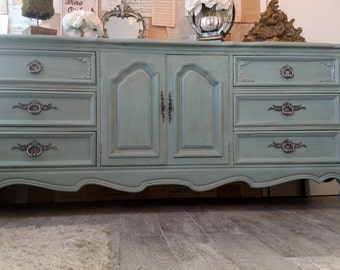 Sold - - Gorgeous refinished vintage French provincial dresser credenza