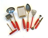 Vintage Red Kitchen Utensil Lot Painted Wood and Plastic Handles