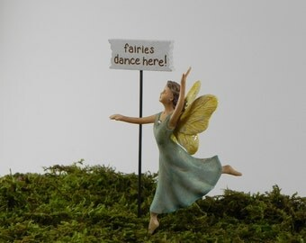 Fairy Dancing accessories, fairy figurine, supply for miniature garden terrarium, cake topper, handmade sign fairies dance here! cake topper