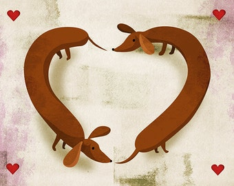 Valentines Day Wiener Dog Card
