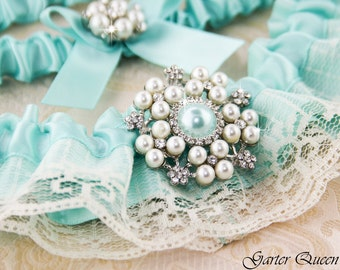 Blue Wedding Garter Set, Blue Bridal garter Set, Aqua Blue Garter, Something Blue, Personalized Garters, Keepsake Garter, Tossing Garter