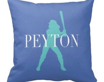 Softball Throw Pillow & Cover, Personalized, Custom, Girl's Name, Blue, Pool, White - ANY COLORS, 14x14, 16x16, 18x18, 20x20, 14x20, 26x26