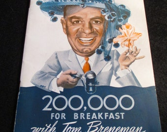 1943 book of  200,000 for breakfast with Tom Breneman - Introduced by Mrs. Bob Hope  - Estate find!