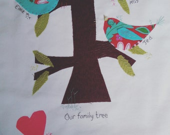 Hand embroidered family tree picture