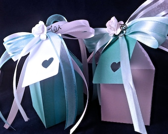 Set of 10 candy favor boxes, complete boxes, tag ribbons and rose, White and Tiffany colors, ideal for your wedding, or other special event