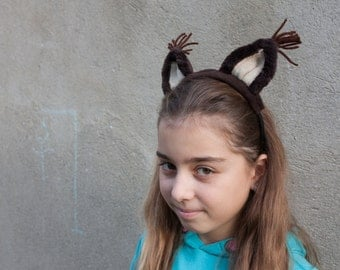 Squirrel Ears Headband, Squirrel Costume, Brown Ears Head Band, Children's or Adult's Photo Prop, Pretend Play