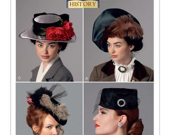 Butterick 6397 Misses' Hats in Four Styles, Historic Hat Sewing Pattern, DIY Hats, New Uncut Sewing Pattern