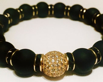 Matte Black and Gold Stretch Bracelet with Gold Pave Bead