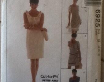 """McCalls Dress Pattern 6925  Sizes 8-12,  Bust 31""""-34"""", Waist 24""""-26"""", Hip 33""""-36"""""""