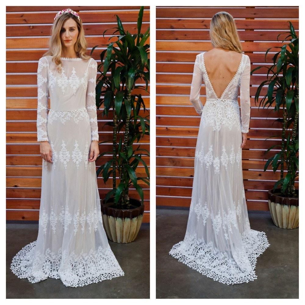 Lisa Lace Bohemian Wedding Dress Cotton Lace With OPEN BACK