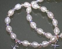 BABY CHRISTENING BRACELET ...Freshwater Pearls And Swarovski Chrystals