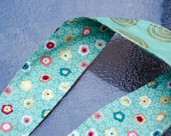"""Reversable Fabric Headband -Adult/Teen   Measures 2 """" Wide Hair Scarf - Hair Wrap  Organic Cotton Green and Gold"""