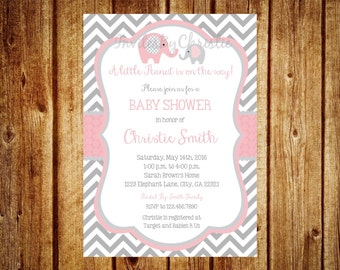 Elephant baby shower invitation | Etsy