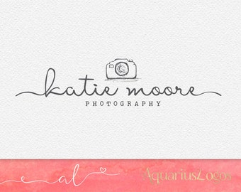 Photography logo Premade logo design - Camera Logo - Watermark logo - DIY psd Photoshop template Sketched camera logo - Hand drawn camera