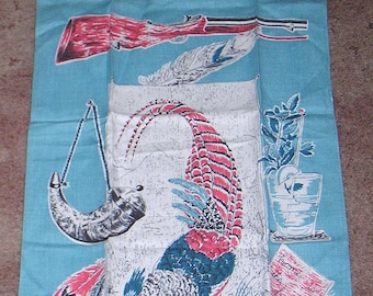 Vintage Kitchen Tea Towel Fancy Pheasant Duck Rifle Powder Horn Home is the Hunter