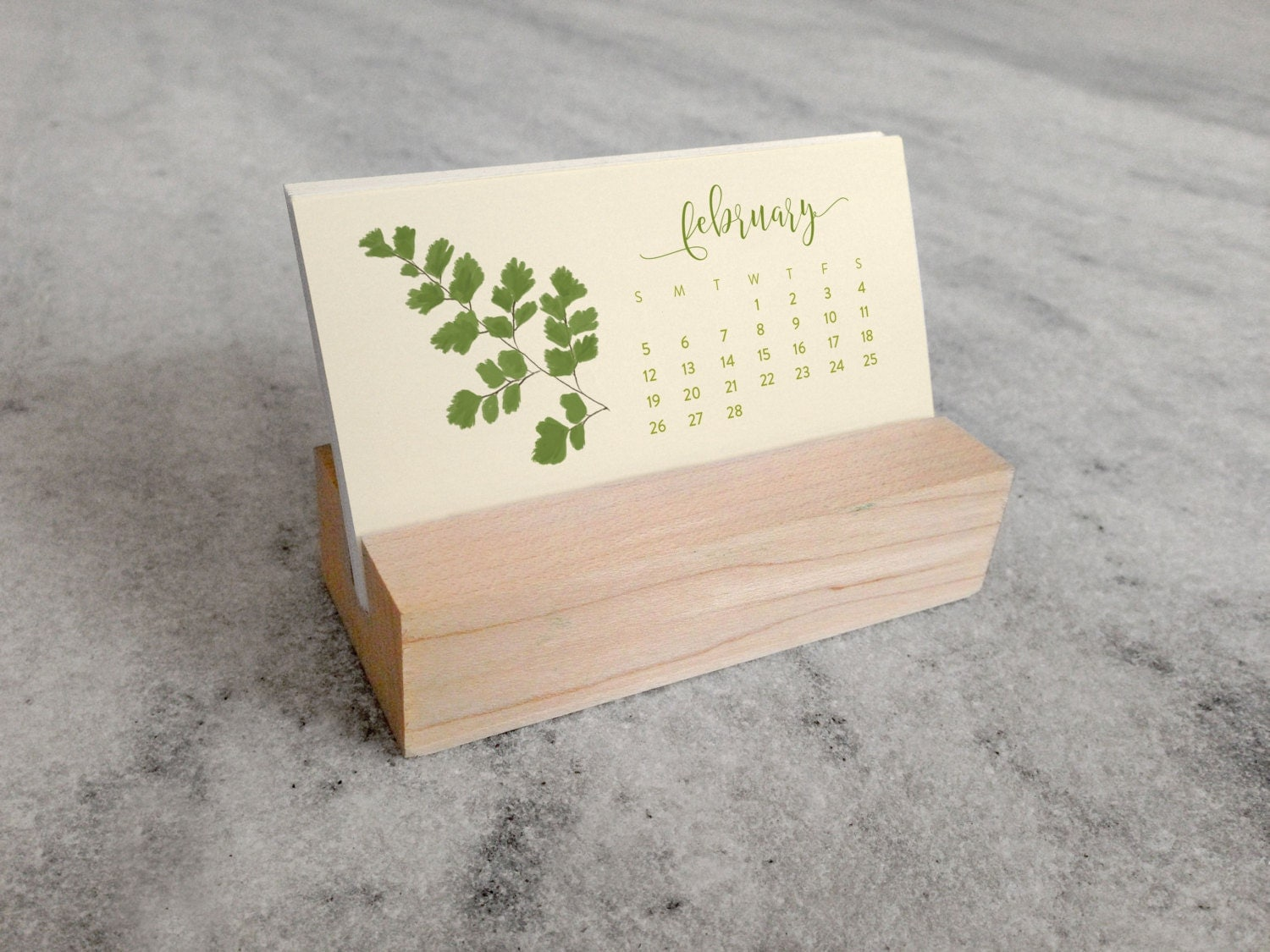 Calendar Wood Stand : Mini desk calendar with wood stand ferns monthly