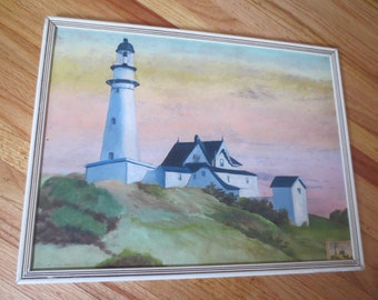 "ORIGINAL LIGHTHOUSE PAINTING Signed Alma J. Kohler In Wood Frame 16 1/2"" x 12 1/2""  Painting On Board Is 15 1/2"" x 11 3/4"""
