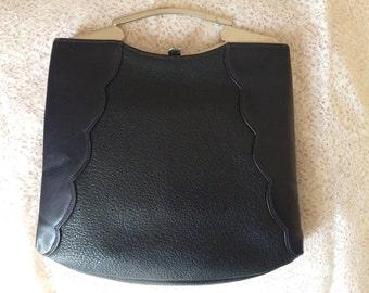Vintage 1930s Blu Genuine Leather Handbag  / Metal Clasp / Art Deco