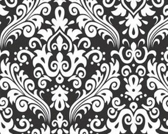 Riley Blake - White on Black Damask Fabric --- Damask Fabric --- Fabric By The Yard
