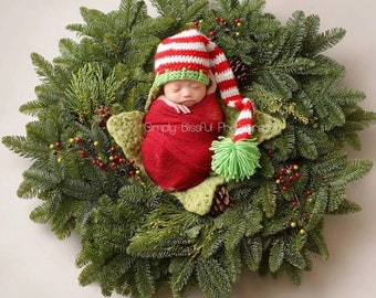 Newborn Photo Prop Christmas Elf, Crochet Baby Holiday Elf Hat, Crochet Striped Baby Elf Hat, Christmas Baby Elf Hat, Christmas Photo Prop