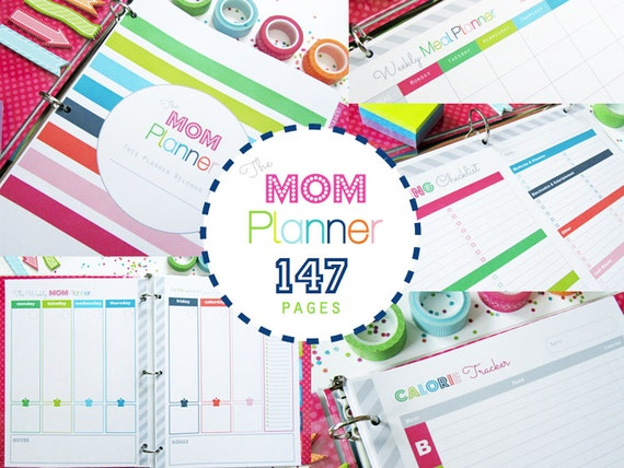 Home Management Household Binder, Printable Planner, The Mom Planner - INSTANT DOWNLOAD - Household Binder with Covers