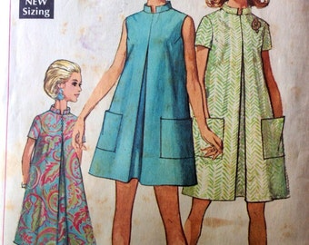 1960s VINTAGE Maternity Swing Tent Dress Pattern Simplicity 7606 Bust 36 inches 1968