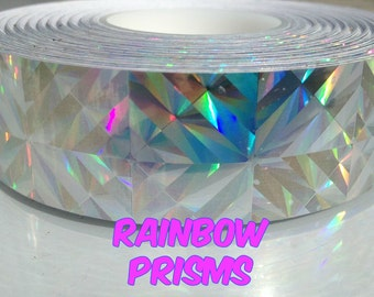 "15 ft. roll of 1"" Rainbow Prisms Metallic Hula Hoop Tape"