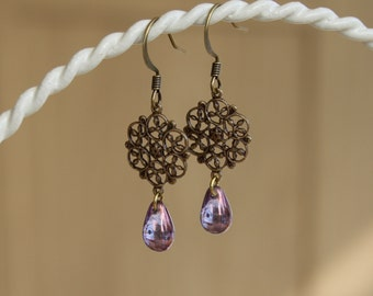 Amethyst Purple Czech Glass Filigree Earrings/Teardrop/Brass Connector/Purple Earrings/Dangle & Drop/Filigree Earrings/Purple Glass