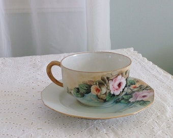 Handpainted vintage pink roses tea cup/china/tea party/ gift
