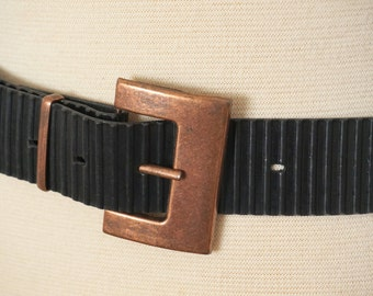 Ribbed Rubber Punk Vintage Belt with Square Copper Buckle