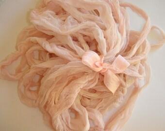 10 Yards Hand Dyed  Silk Chiffon Sari Ribbon... Blush
