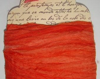 10 yards Hand Dyed Pure Silk Habotai Sari Ribbon....  Pumpkin