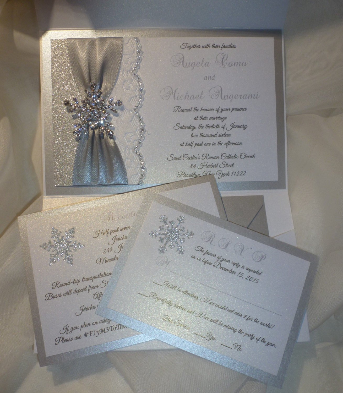 WINTER Wedding Invitation Silver Glitter Wedding Invitation