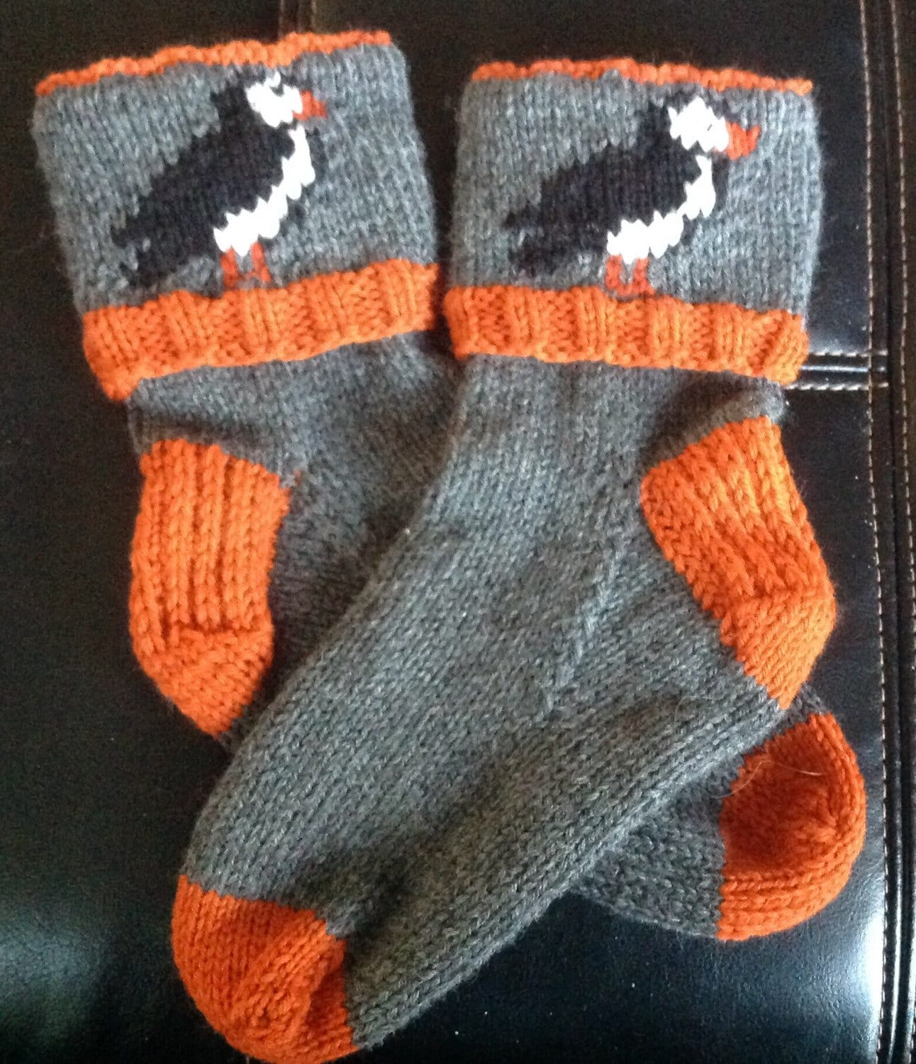 Woolen Socks Knitting Pattern : Newfoundland Puffin Socks