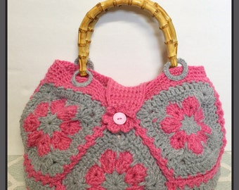 Flower crochet bag-Pink/greycolor-handmade-Ready to Ship