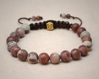 Apache jasper bracelet with 8mm beads - peace macrame closure