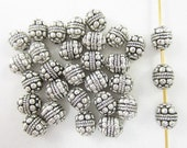 30pcs Round Barrel Dots Silver Plated Beads (F2156)