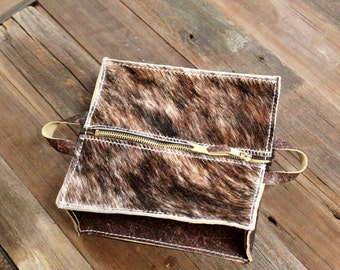 Cowhide and Leather Cosmetic Bag with Handles Zipper