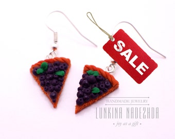 DISCOUNT 50% blueberry cake slice polymer clay dangle earrings from  cute gift idea