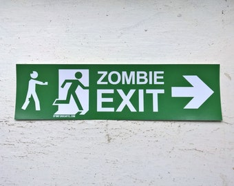 Zombie Exit Vinyl Sticker