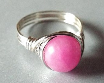 Pink Jade Ring, Pink Stone Ring, Wire Wrapped Jewelry, Wire Wrapped Ring, Girlfriend Gift, Gift for Mom, Jade Jewelry, Silver Wire Ring