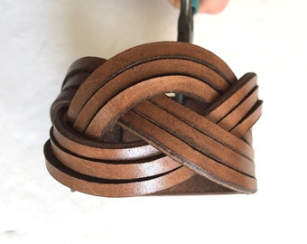 Every day braided brown genuine leather bracelet cuff wristband.  Brown mystery braid bracelet cuff.