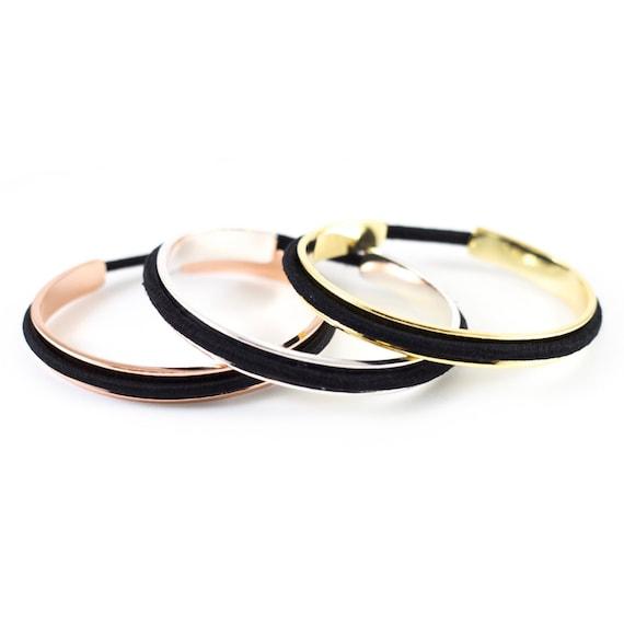 Classic Hair Tie Bracelet Cuff In Silver Gold By Belabracelets